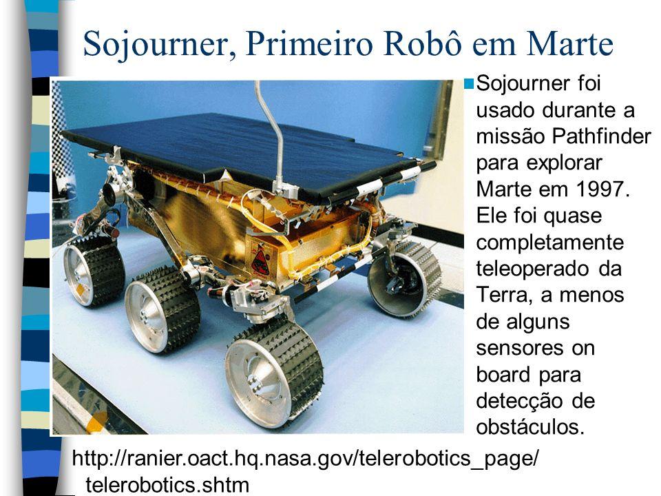 Sojourner, Primeiro Robô em Marte Sojourner foi usado durante a missão Pathfinder para explorar Marte em 1997. Ele foi quase completamente teleoperado