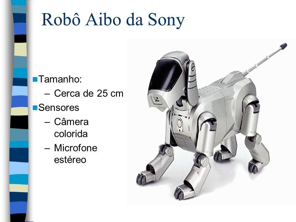 Robô Aibo da Sony Tamanho: –Cerca de 25 cm Sensores –Câmera colorida –Microfone estéreo