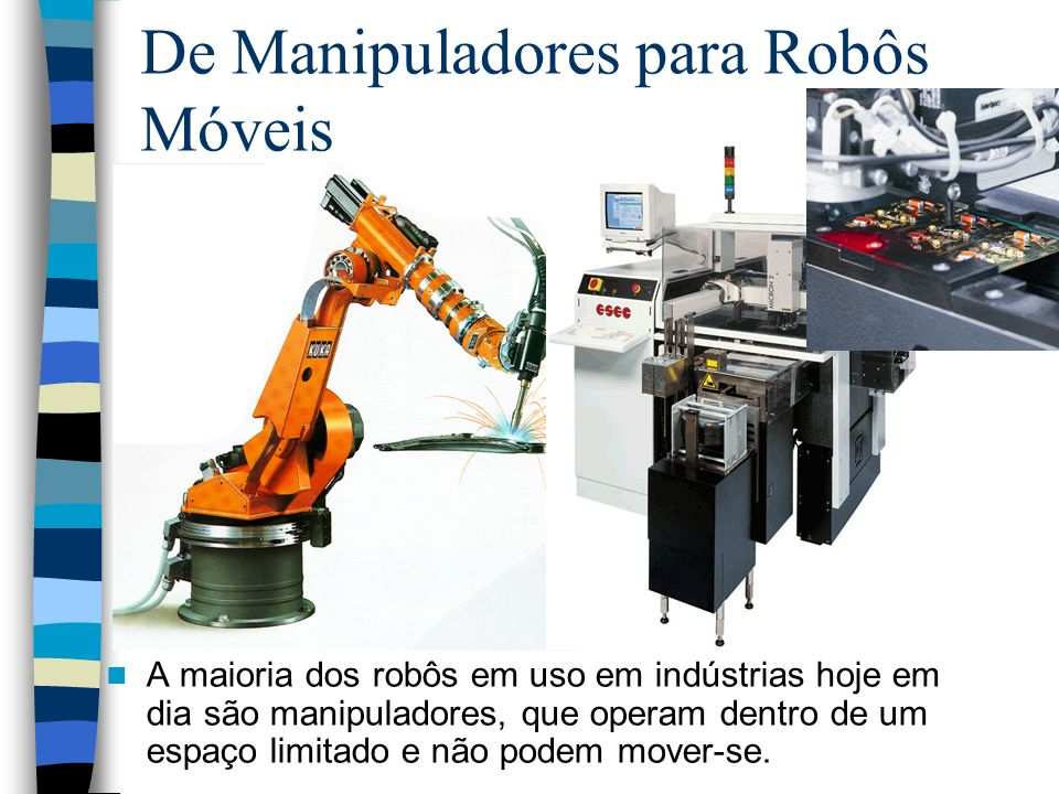 De Manipuladores para Robôs Móveis A maioria dos robôs em uso em indústrias hoje em dia são manipuladores, que operam dentro de um espaço limitado e n