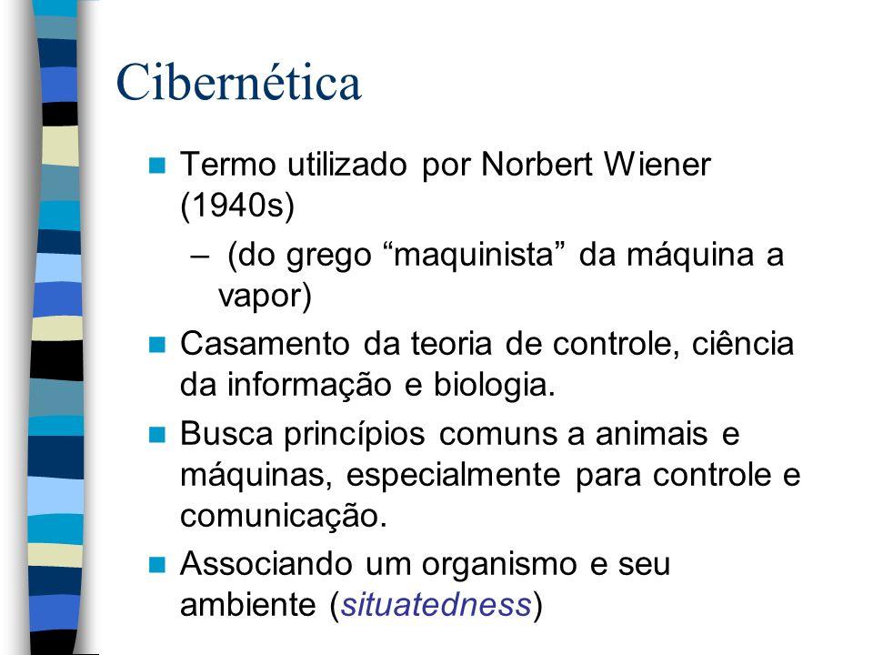 Termo utilizado por Norbert Wiener (1940s) – (do grego maquinista da máquina a vapor) Casamento da teoria de controle, ciência da informação e biologi
