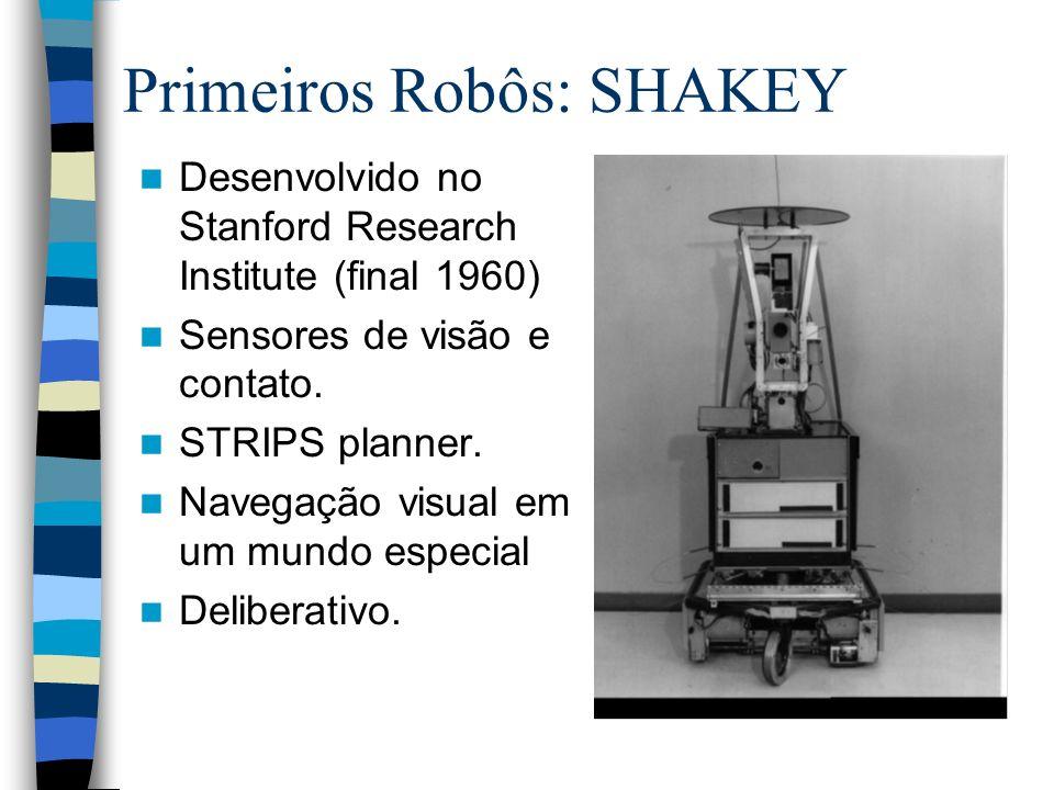 Desenvolvido no Stanford Research Institute (final 1960) Sensores de visão e contato. STRIPS planner. Navegação visual em um mundo especial Deliberati