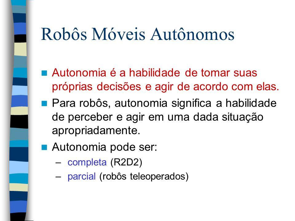 Robôs Móveis Autônomos Autonomia é a habilidade de tomar suas próprias decisões e agir de acordo com elas. Para robôs, autonomia significa a habilidad