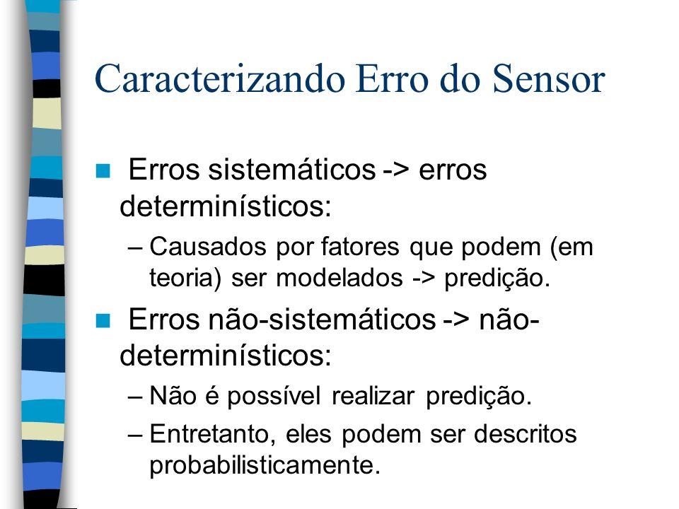 Caracterizando Erro do Sensor Erros sistemáticos -> erros determinísticos: –Causados por fatores que podem (em teoria) ser modelados -> predição. Erro
