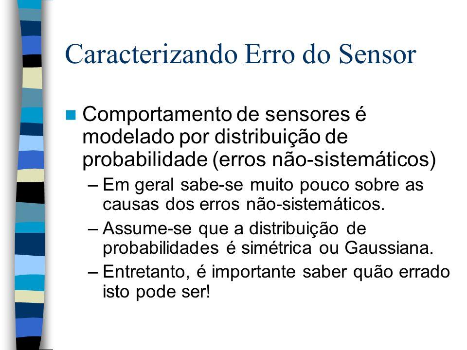 Caracterizando Erro do Sensor Comportamento de sensores é modelado por distribuição de probabilidade (erros não-sistemáticos) –Em geral sabe-se muito