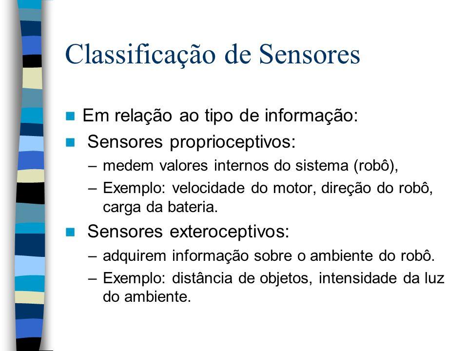 Classificação de Sensores Em relação ao tipo de informação: Sensores proprioceptivos: –medem valores internos do sistema (robô), –Exemplo: velocidade