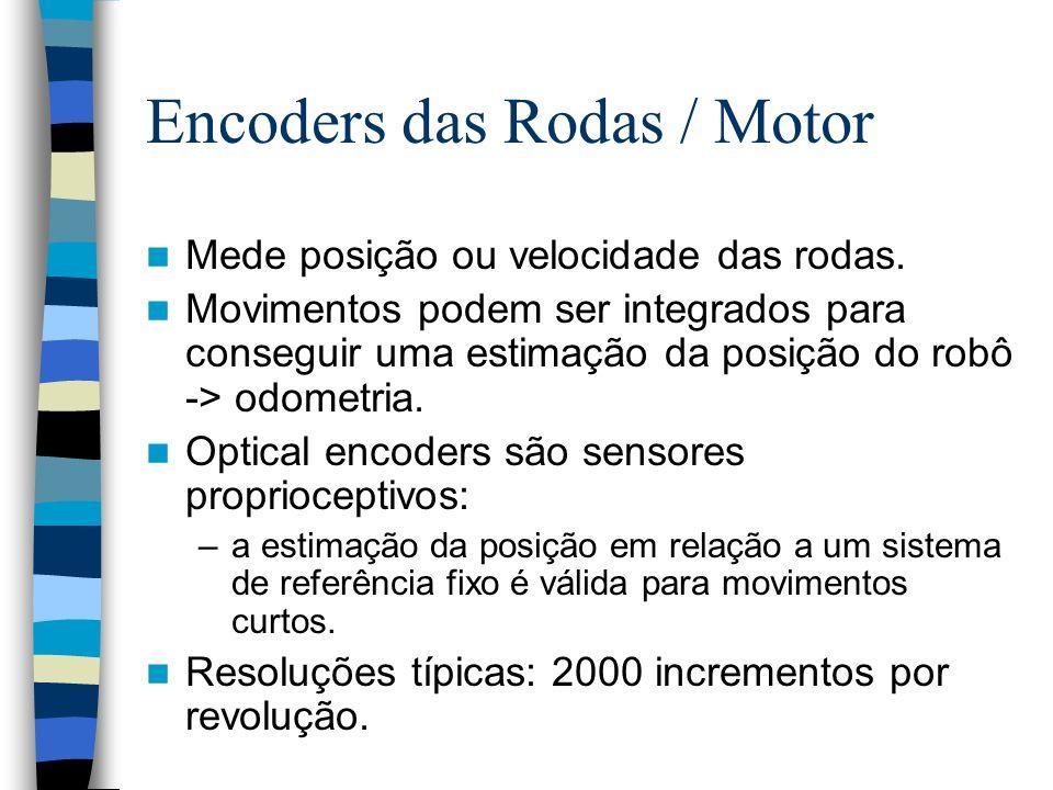 Encoders das Rodas / Motor Mede posição ou velocidade das rodas. Movimentos podem ser integrados para conseguir uma estimação da posição do robô -> od