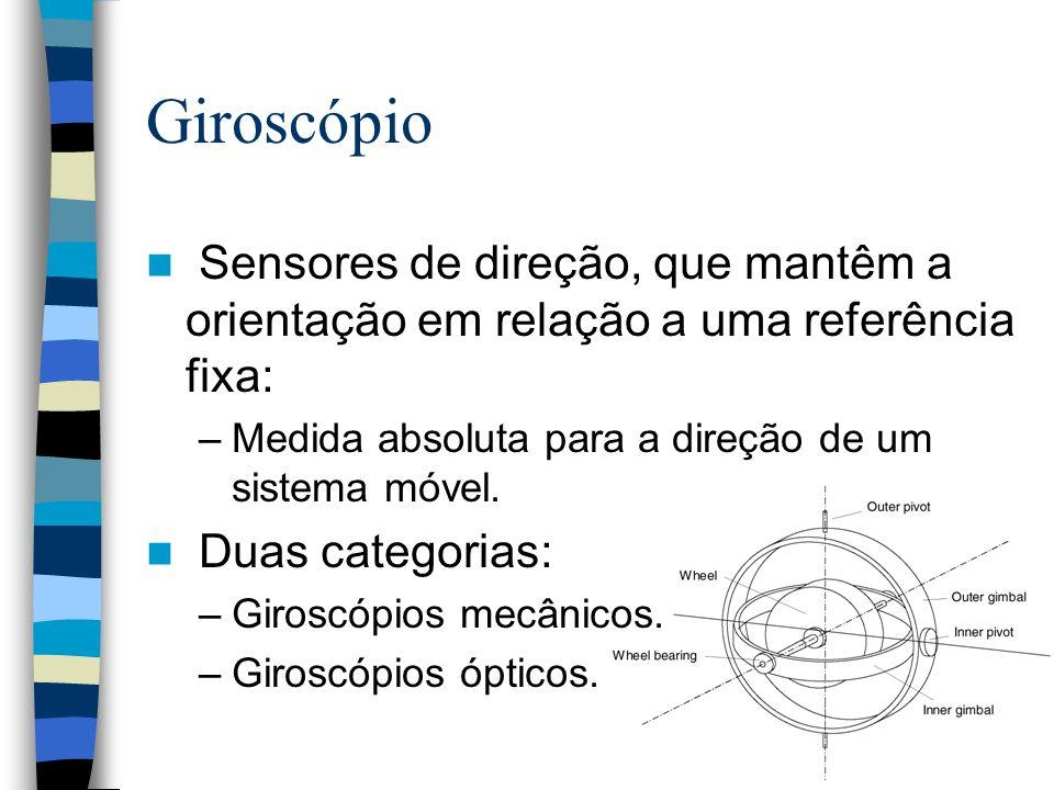 Giroscópio Sensores de direção, que mantêm a orientação em relação a uma referência fixa: –Medida absoluta para a direção de um sistema móvel. Duas ca