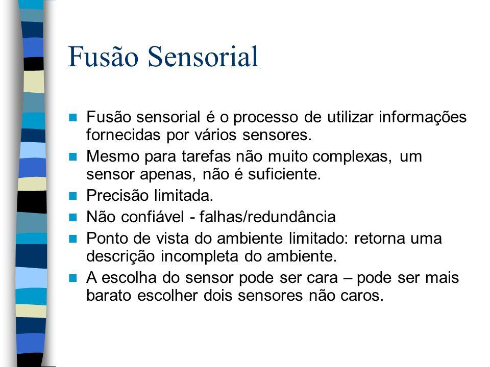 Fusão Sensorial Fusão sensorial é o processo de utilizar informações fornecidas por vários sensores. Mesmo para tarefas não muito complexas, um sensor