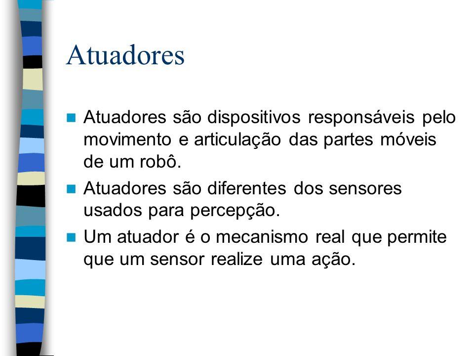 Atuadores Atuadores são dispositivos responsáveis pelo movimento e articulação das partes móveis de um robô. Atuadores são diferentes dos sensores usa