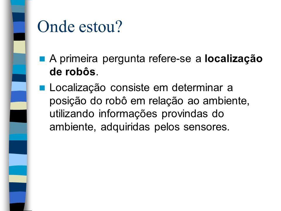 Onde estou? A primeira pergunta refere-se a localização de robôs. Localização consiste em determinar a posição do robô em relação ao ambiente, utiliza