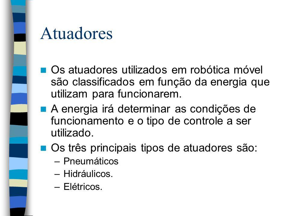 Atuadores Os atuadores utilizados em robótica móvel são classificados em função da energia que utilizam para funcionarem. A energia irá determinar as