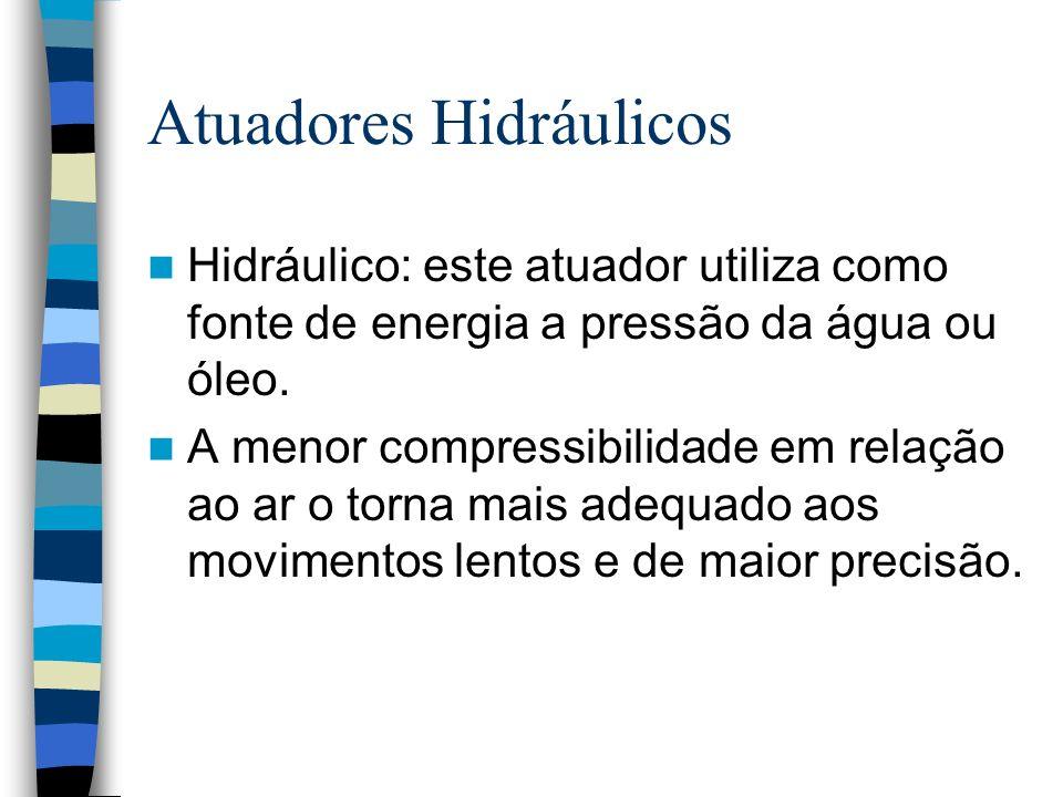 Atuadores Hidráulicos Hidráulico: este atuador utiliza como fonte de energia a pressão da água ou óleo. A menor compressibilidade em relação ao ar o t