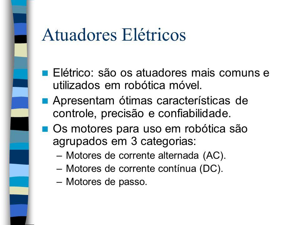 Atuadores Elétricos Elétrico: são os atuadores mais comuns e utilizados em robótica móvel. Apresentam ótimas características de controle, precisão e c