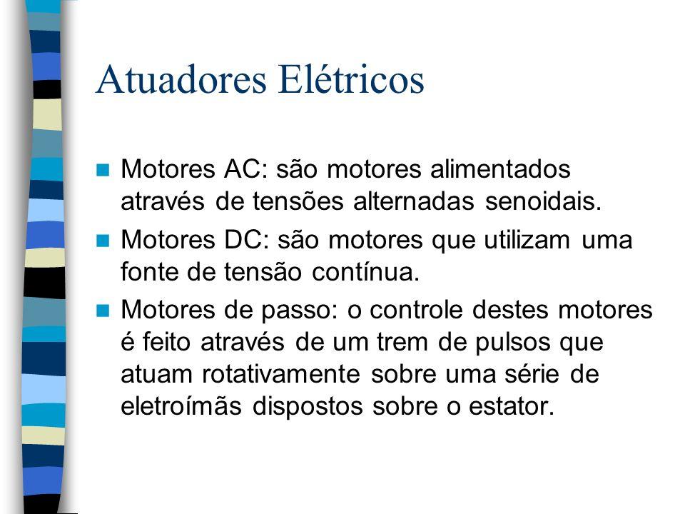 Atuadores Elétricos Motores AC: são motores alimentados através de tensões alternadas senoidais. Motores DC: são motores que utilizam uma fonte de ten