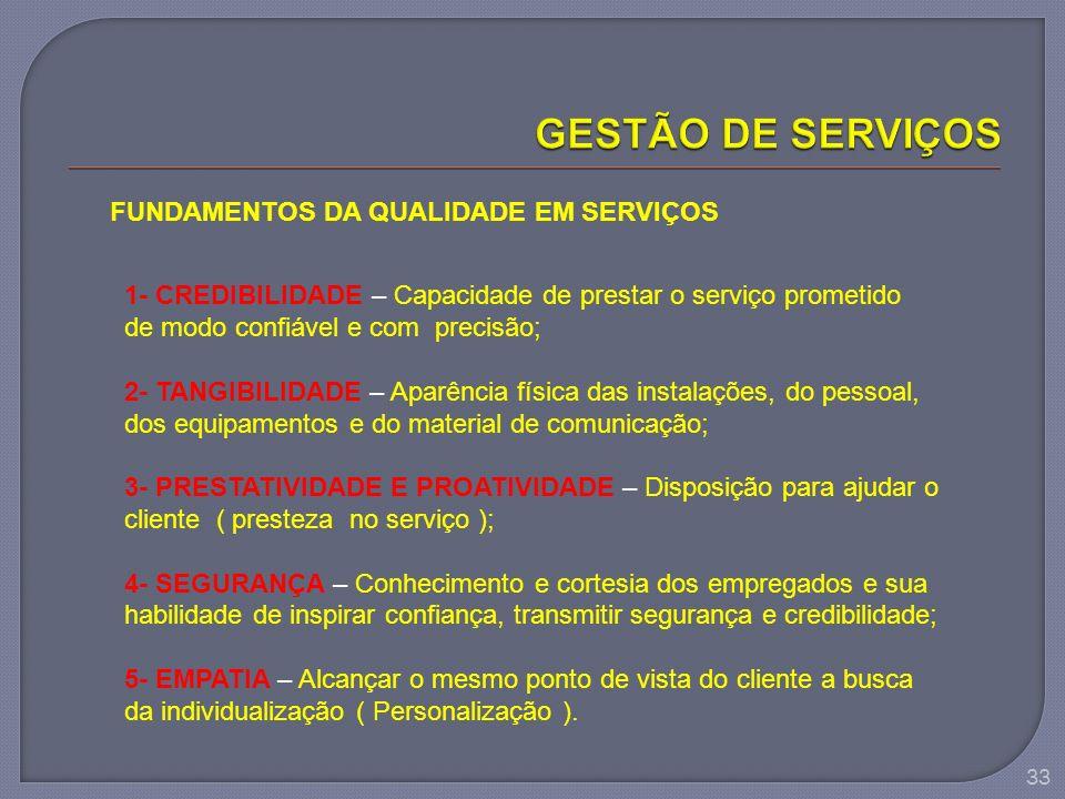 33 FUNDAMENTOS DA QUALIDADE EM SERVIÇOS 1- CREDIBILIDADE – Capacidade de prestar o serviço prometido de modo confiável e com precisão; 2- TANGIBILIDAD