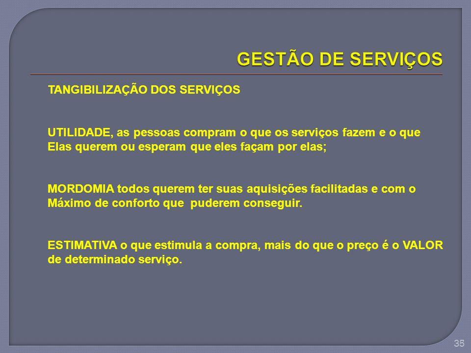 35 TANGIBILIZAÇÃO DOS SERVIÇOS UTILIDADE, as pessoas compram o que os serviços fazem e o que Elas querem ou esperam que eles façam por elas; MORDOMIA