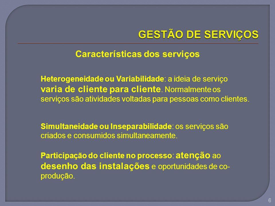 Características dos serviços Heterogeneidade ou Variabilidade: a ideia de serviço varia de cliente para cliente. Normalmente os serviços são atividade