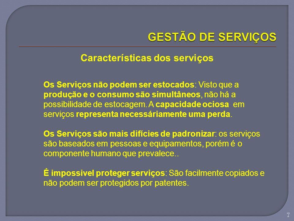 Características dos serviços Os Serviços não podem ser estocados: Visto que a produção e o consumo são simultâneos, não há a possibilidade de estocage