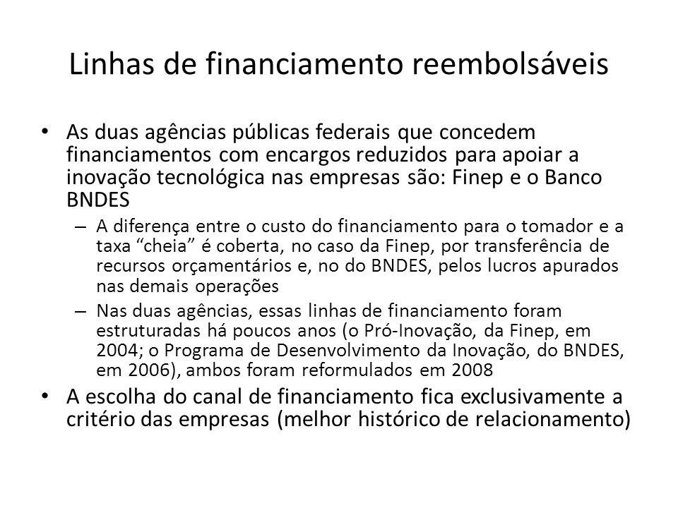 Linhas de financiamento reembolsáveis As duas agências públicas federais que concedem financiamentos com encargos reduzidos para apoiar a inovação tec