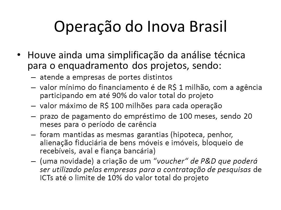 Operação do Inova Brasil Houve ainda uma simplificação da análise técnica para o enquadramento dos projetos, sendo: – atende a empresas de portes dist