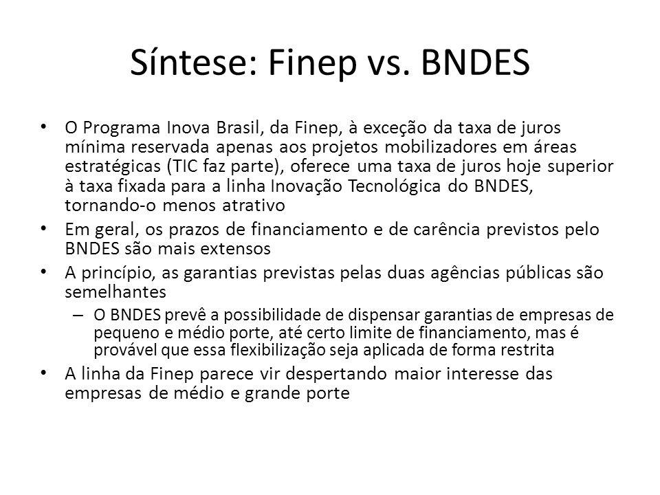 Síntese: Finep vs. BNDES O Programa Inova Brasil, da Finep, à exceção da taxa de juros mínima reservada apenas aos projetos mobilizadores em áreas est