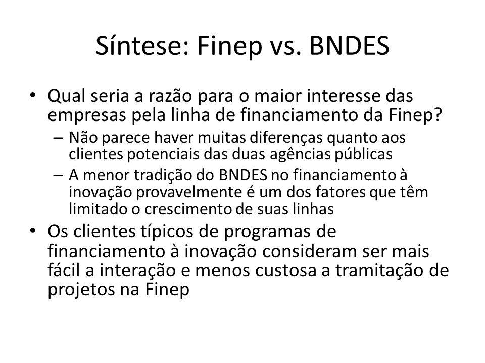 Síntese: Finep vs. BNDES Qual seria a razão para o maior interesse das empresas pela linha de financiamento da Finep? – Não parece haver muitas difere
