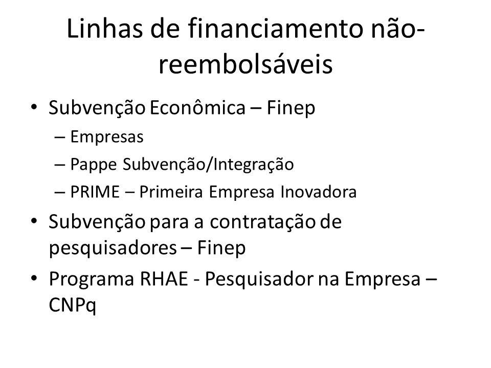 Linhas de financiamento não- reembolsáveis Subvenção Econômica – Finep – Empresas – Pappe Subvenção/Integração – PRIME – Primeira Empresa Inovadora Su