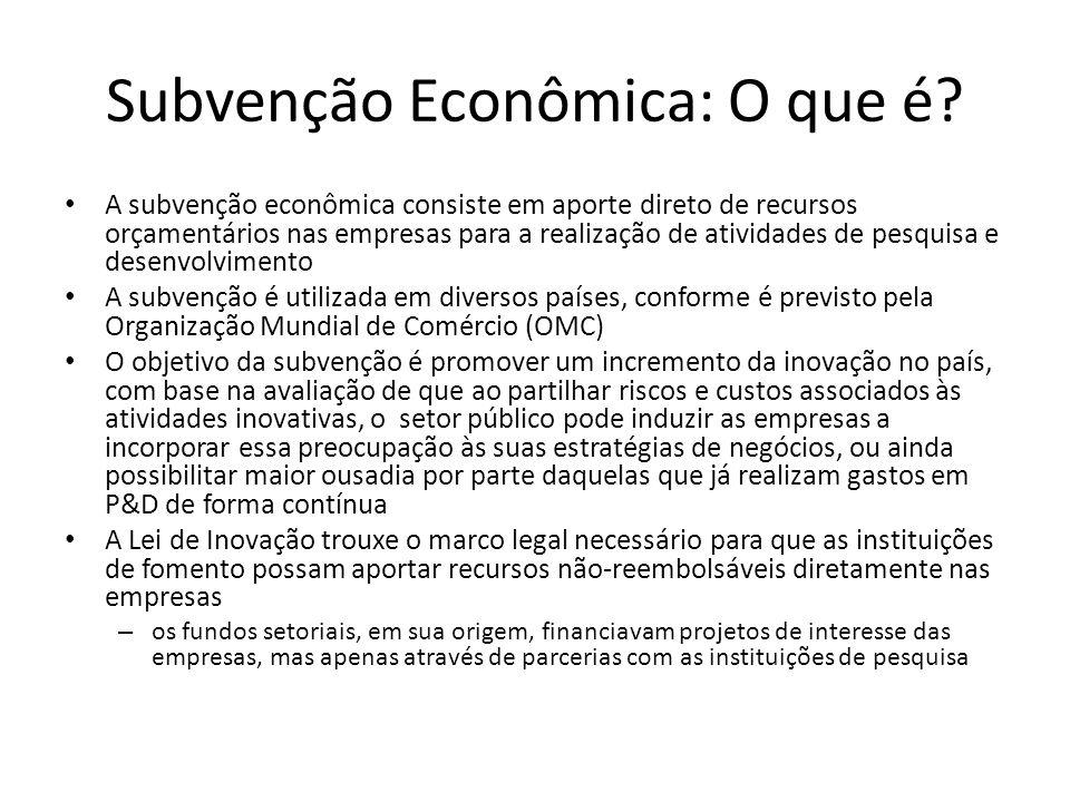 Subvenção Econômica: O que é? A subvenção econômica consiste em aporte direto de recursos orçamentários nas empresas para a realização de atividades d