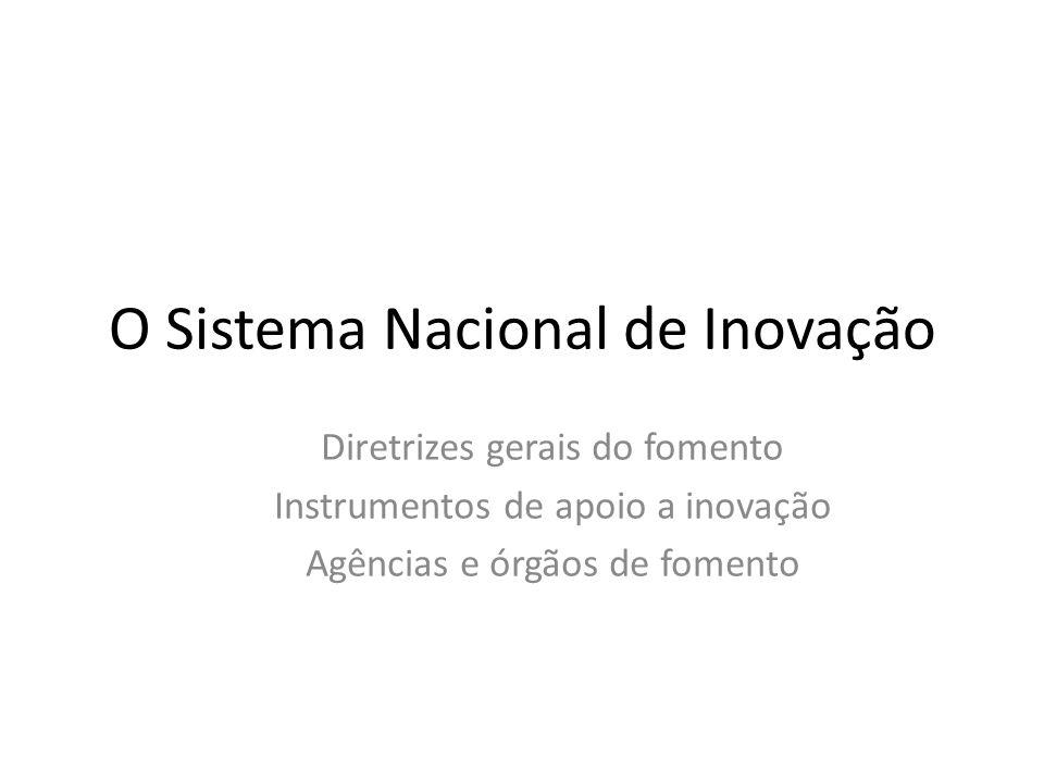 O Sistema Nacional de Inovação Diretrizes gerais do fomento Instrumentos de apoio a inovação Agências e órgãos de fomento