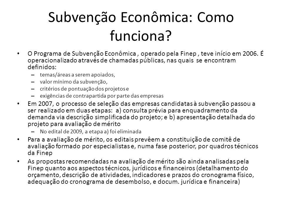 Subvenção Econômica: Como funciona? O Programa de Subvenção Econômica, operado pela Finep, teve início em 2006. É operacionalizado através de chamadas