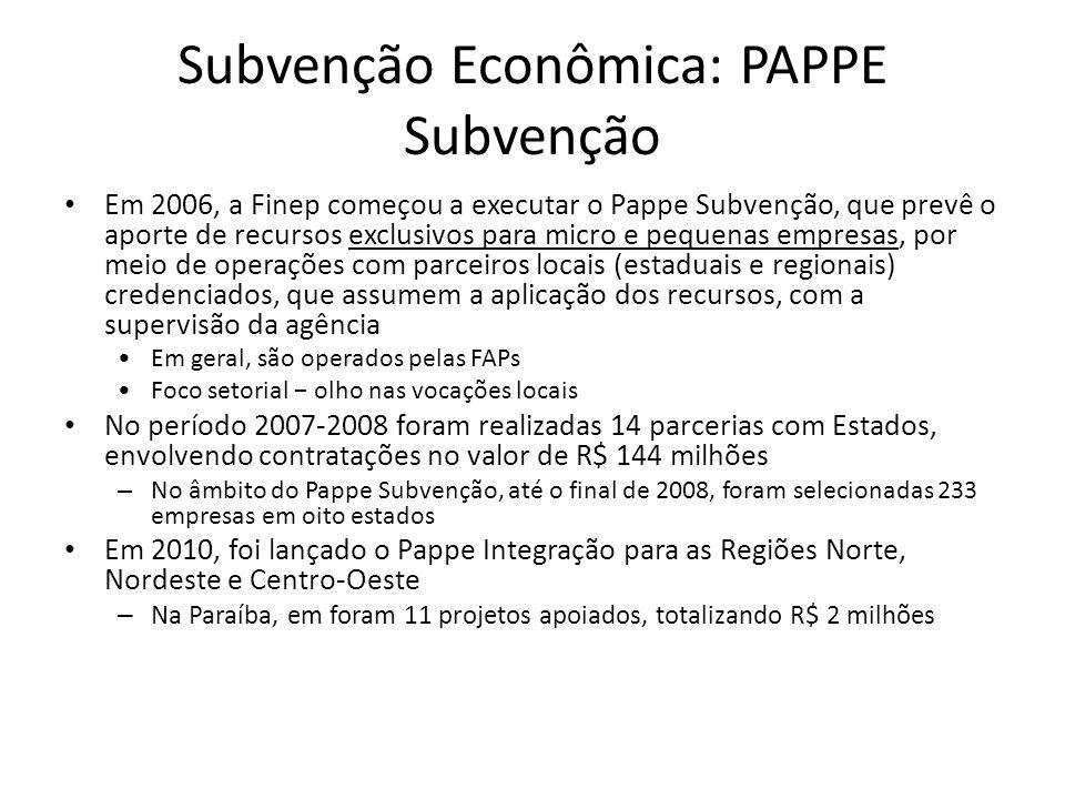 Subvenção Econômica: PAPPE Subvenção Em 2006, a Finep começou a executar o Pappe Subvenção, que prevê o aporte de recursos exclusivos para micro e peq