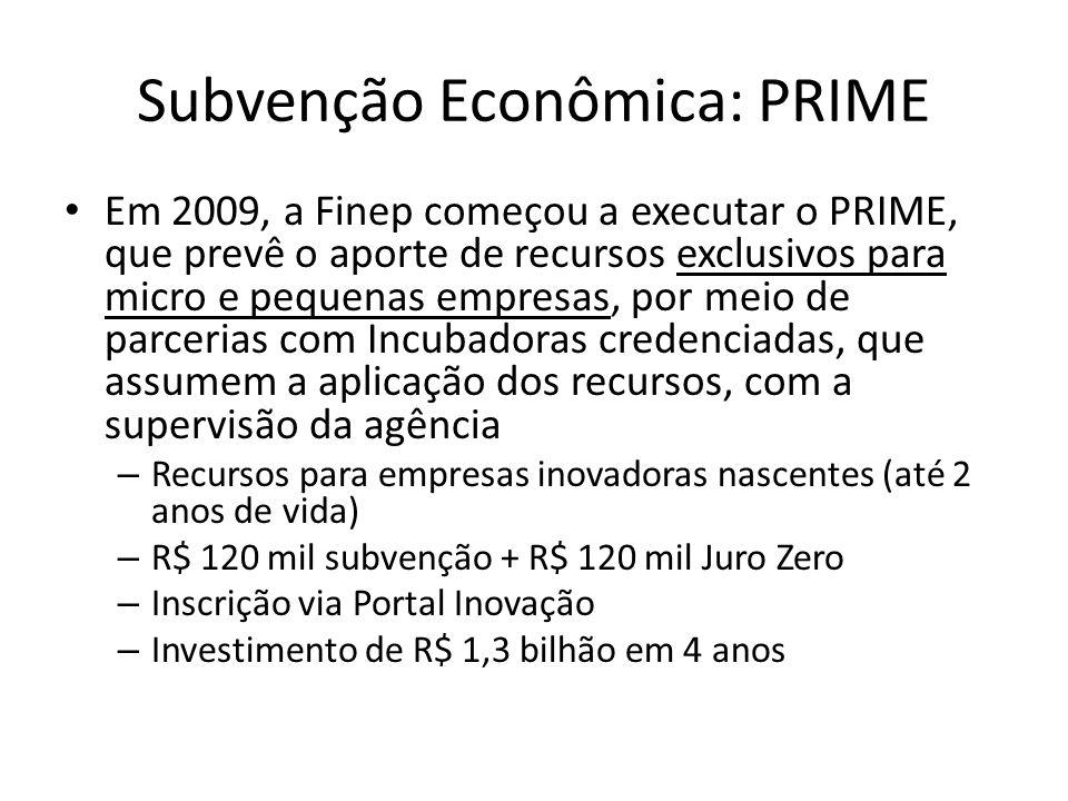 Subvenção Econômica: PRIME Em 2009, a Finep começou a executar o PRIME, que prevê o aporte de recursos exclusivos para micro e pequenas empresas, por