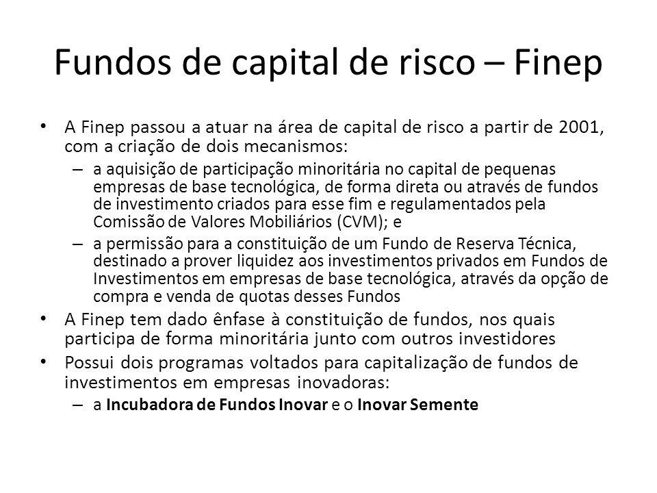 Fundos de capital de risco – Finep A Finep passou a atuar na área de capital de risco a partir de 2001, com a criação de dois mecanismos: – a aquisiçã