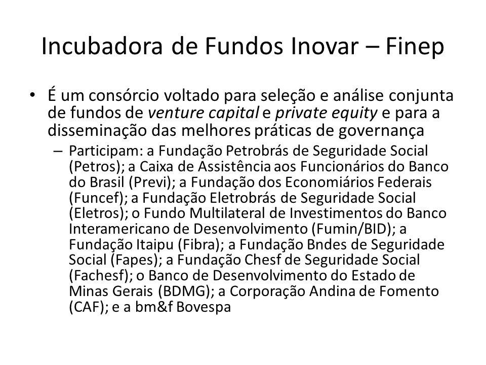Incubadora de Fundos Inovar – Finep É um consórcio voltado para seleção e análise conjunta de fundos de venture capital e private equity e para a diss
