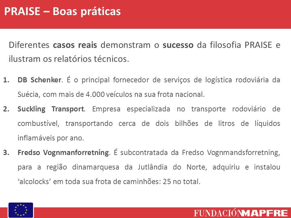 PRAISE – Boas práticas Diferentes casos reais demonstram o sucesso da filosofia PRAISE e ilustram os relatórios técnicos. 1.DB Schenker. É o principal