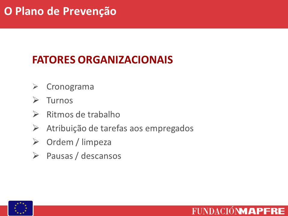 FATORES ORGANIZACIONAIS Cronograma Turnos Ritmos de trabalho Atribuição de tarefas aos empregados Ordem / limpeza Pausas / descansos O Plano de Prevenção