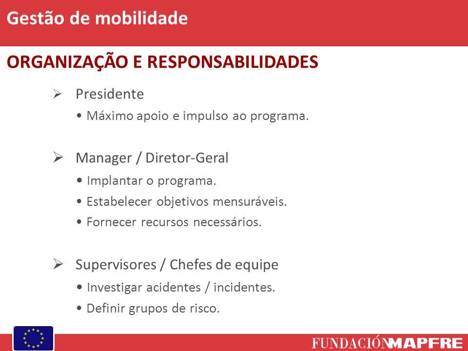Presidente Máximo apoio e impulso ao programa.Manager / Diretor-Geral Implantar o programa.