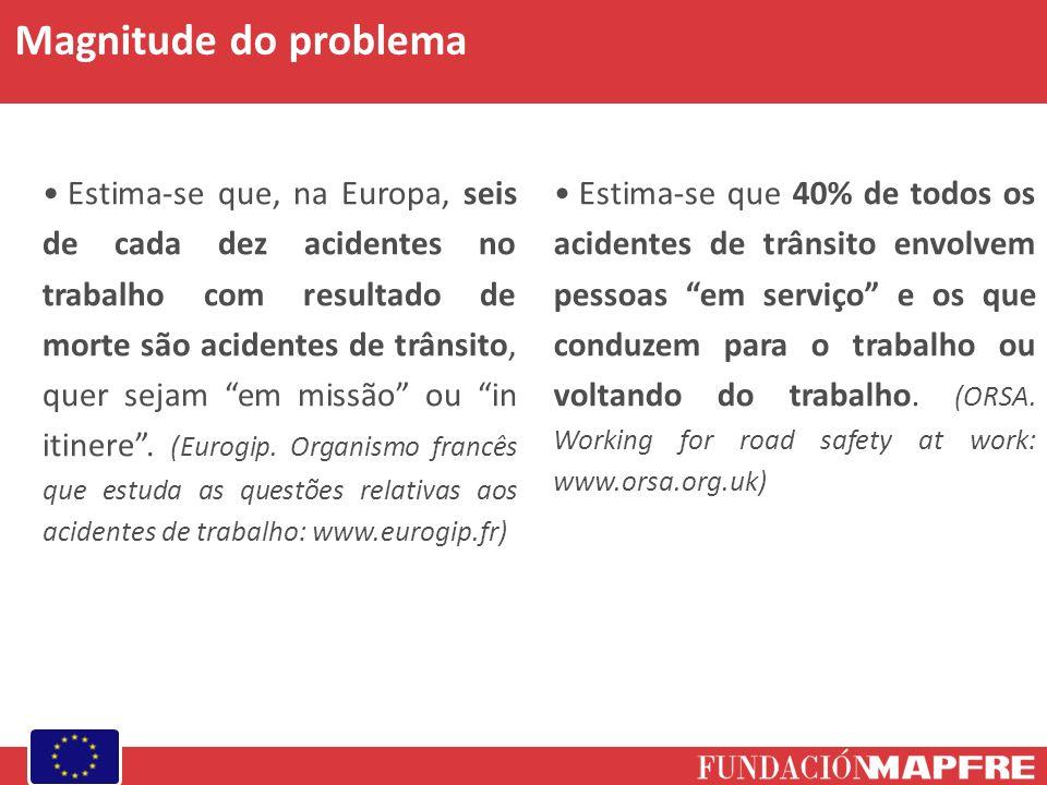 Magnitude do problema Estima-se que, na Europa, seis de cada dez acidentes no trabalho com resultado de morte são acidentes de trânsito, quer sejam em missão ou in itinere.