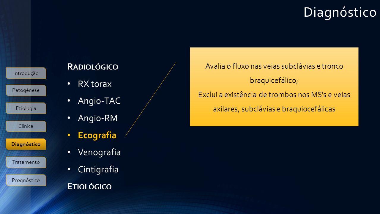 R ADIOLÓGICO RX torax Angio-TAC Angio-RM Ecografia Venografia Cintigrafia E TIOLÓGICO Avalia o fluxo nas veias subclávias e tronco braquicefálico; Exclui a existência de trombos nos MSs e veias axilares, subclávias e braquiocefálicas Introdução Patogénese Etiologia Clínica Tratamento Prognóstico Diagnóstico