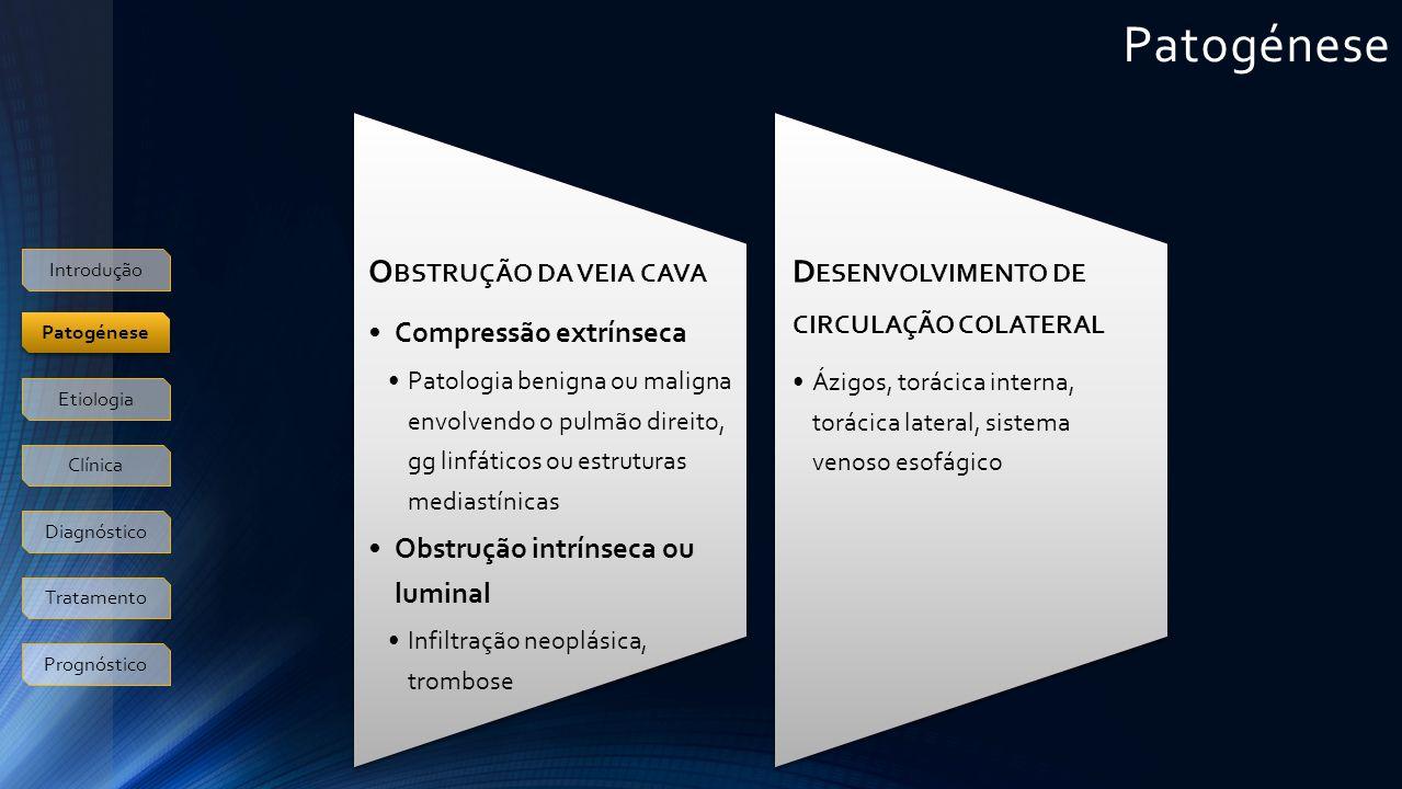 Etiologia Maligna (85%) Neoplasias do pulmão (75- 80%) Linfoma (8-10%) Timoma, tumores mediastínicos, metástases (8-10%) Benigna (10-15%) Inflamatória Mediastinite fibrosante Colangite esclerosante Sarcoidose Fibrose pós-RT Iatrogénica Trombose de CVC, eléctrodos de PM Introdução Patogénese Etiologia Clínica Diagnóstico Tratamento Prognóstico