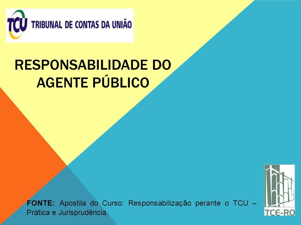 RESPONSABILIDADE DO AGENTE PÚBLICO FONTE: Apostila do Curso: Responsabilização perante o TCU – Prática e Jurisprudência.