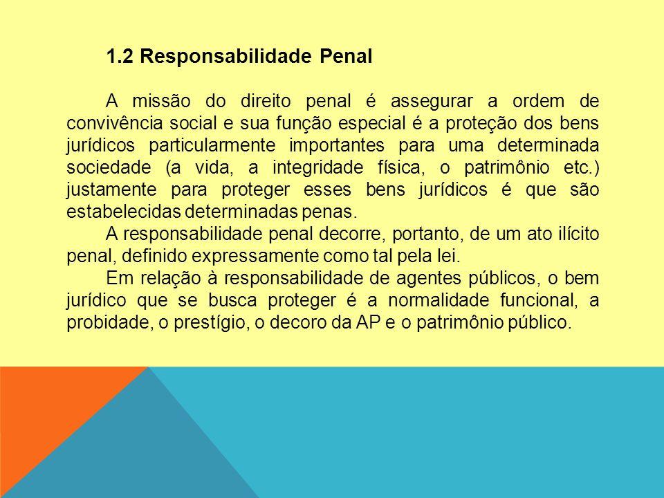 1.2 Responsabilidade Penal A missão do direito penal é assegurar a ordem de convivência social e sua função especial é a proteção dos bens jurídicos p
