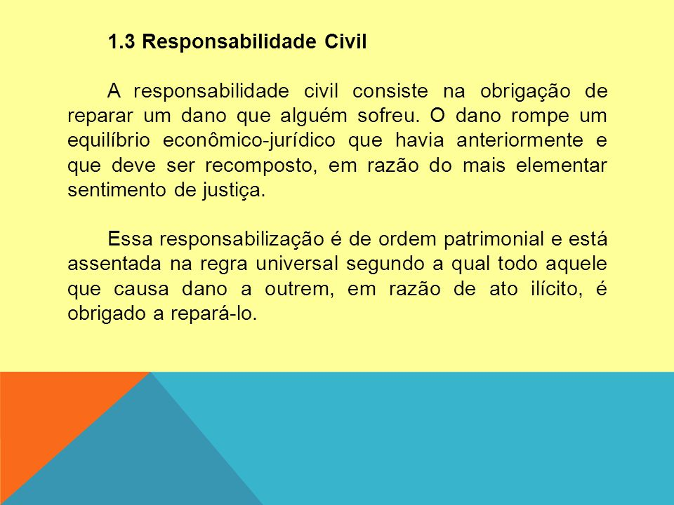 1.3 Responsabilidade Civil A responsabilidade civil consiste na obrigação de reparar um dano que alguém sofreu. O dano rompe um equilíbrio econômico-j