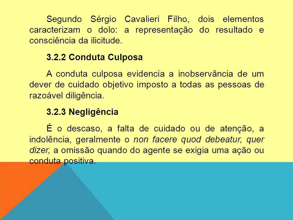 Segundo Sérgio Cavalieri Filho, dois elementos caracterizam o dolo: a representação do resultado e consciência da ilicitude. 3.2.2 Conduta Culposa A c