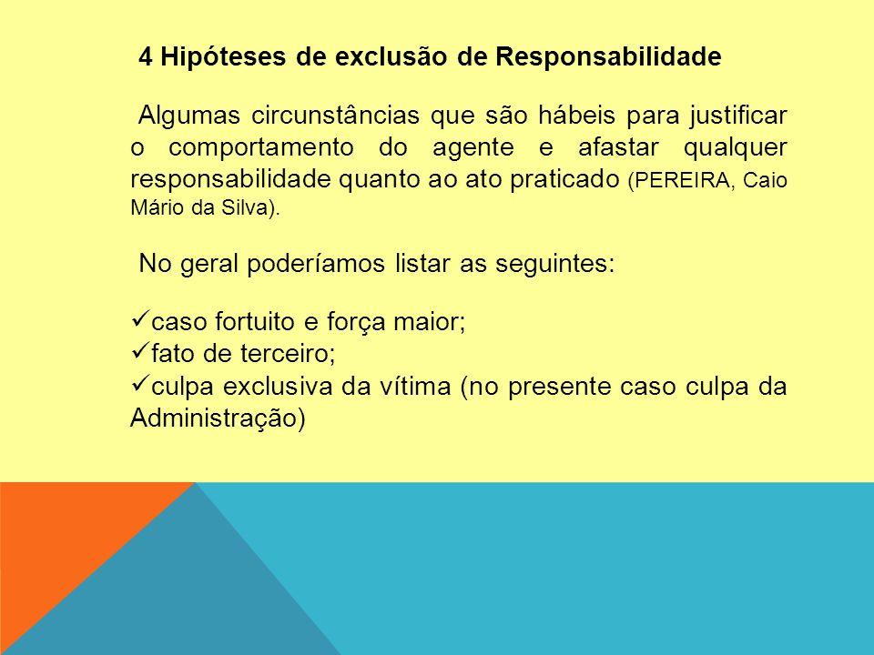 4 Hipóteses de exclusão de Responsabilidade Algumas circunstâncias que são hábeis para justificar o comportamento do agente e afastar qualquer respons