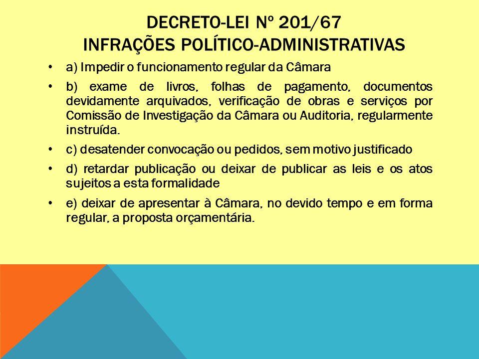 DECRETO-LEI Nº 201/67 INFRAÇÕES POLÍTICO-ADMINISTRATIVAS a) Impedir o funcionamento regular da Câmara b) exame de livros, folhas de pagamento, documen
