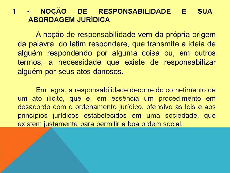 1 - NOÇÃO DE RESPONSABILIDADE E SUA ABORDAGEM JURÍDICA A noção de responsabilidade vem da própria origem da palavra, do latim respondere, que transmit