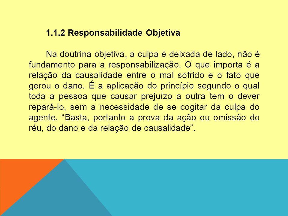 1.1.2 Responsabilidade Objetiva Na doutrina objetiva, a culpa é deixada de lado, não é fundamento para a responsabilização. O que importa é a relação