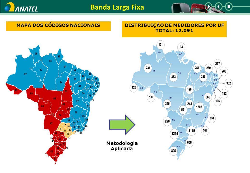 Banda Larga Fixa MAPA DOS CÓDIGOS NACIONAIS DISTRIBUIÇÃO DE MEDIDORES POR UF TOTAL: 12.091 Metodologia Aplicada