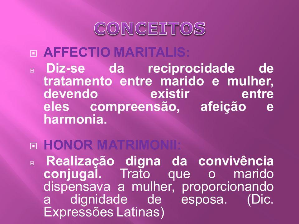 AFFECTIO MARITALIS: Diz-se da reciprocidade de tratamento entre marido e mulher, devendo existir entre eles compreensão, afeição e harmonia.